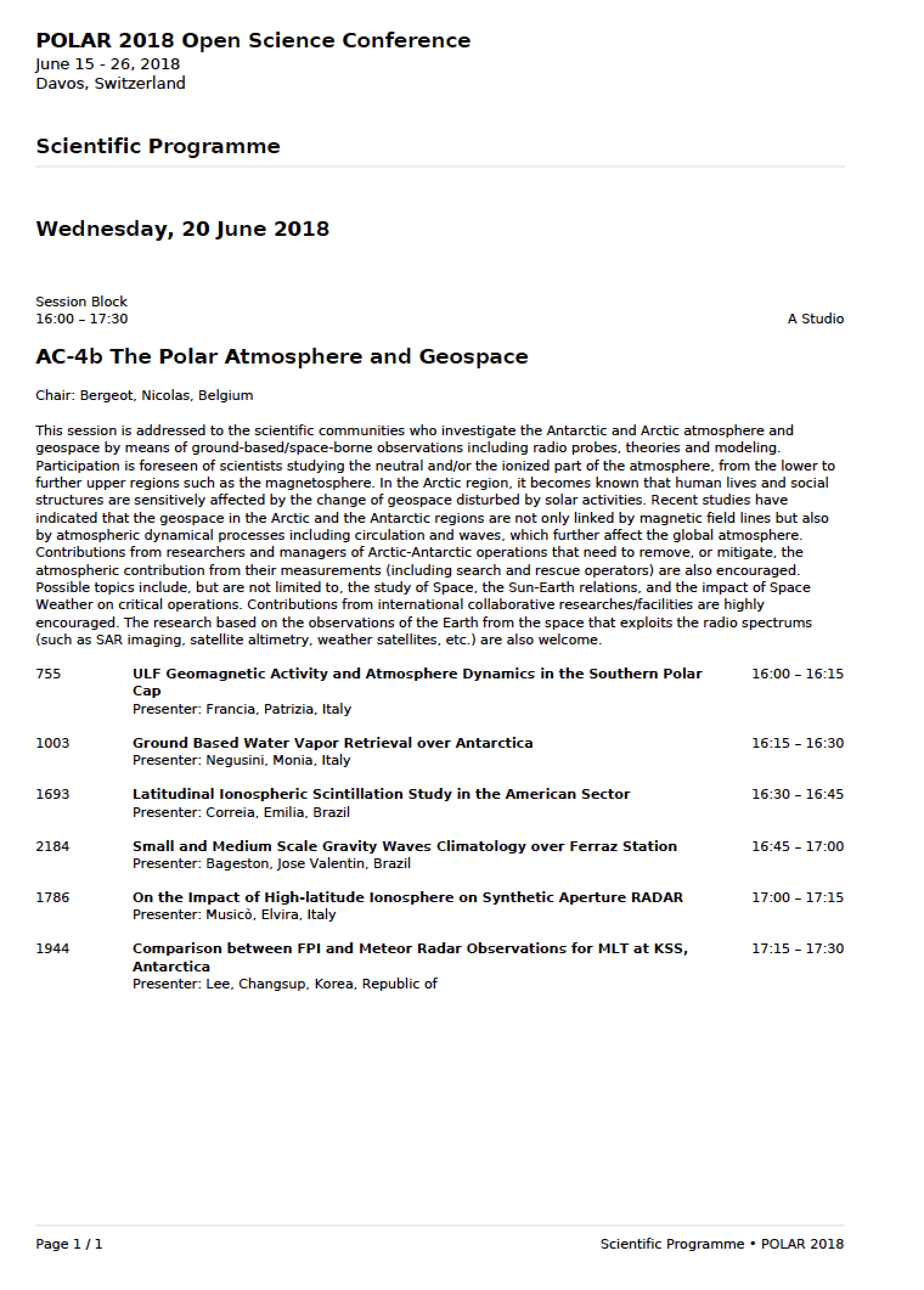 List of presentations at the GRAPE scientific session AC-4b