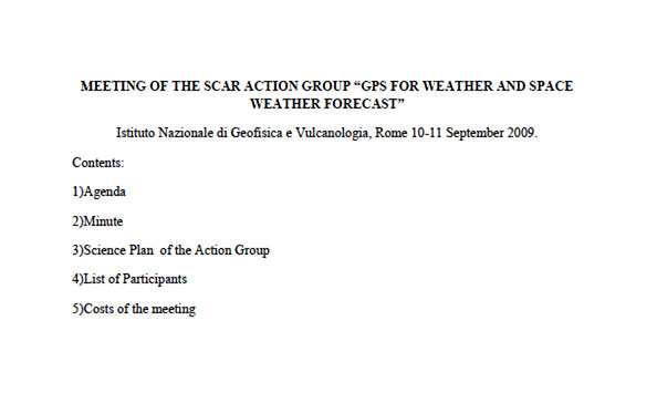 """Meeting of the SCAR Action Group """"GPS for Weather and Space Weather Forecast"""""""